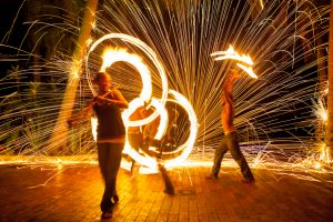 Fire dancers at Iririki Resort Vanuatu - Corporate Business Photography