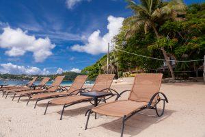 Beach chairs at Iririki Island Resort Vanuatu - Corporate Business Photography.